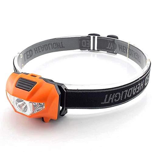 YSQSPWS Linterna Frontal Led Faro AAA Batería Mini LED Head Luz de Cabeza Lámpara de antorcha Pesca Mini Pequeño Poder Power Lantern Lámpara para Acampar (Body Color : Orange)