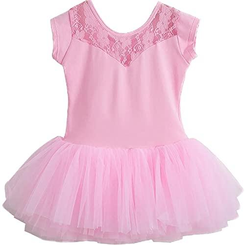 ZRFNFMA Kinder Tanzkleid niedliches Tutu Mädchen Ballett Enges Kleid Tanzrock Klasse rosa 130 cm