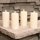 Outdoor Flameless Candles with Timer - 3x6 LED Pillar Candle Set, Waterproof for Patio Decor, Battery Operated, Remote Control Included, Realistic Flickering Warm White Light - Set of 4