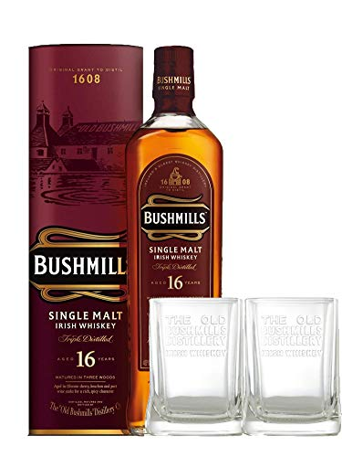 Bushmills 16 Jahre Single Malt Irish Whiskey + 2 Gläser 0,7 L