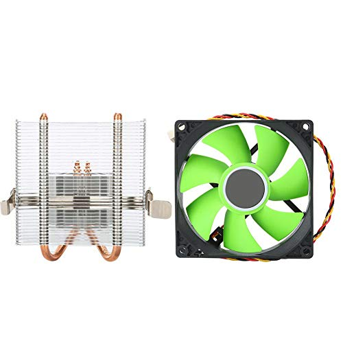 Enfriador de CPU, Ventilador de enfriamiento de 7 Palas con Tubo de Cobre y disipador de Calor de Aletas de Aluminio, Enfriador Fuerte de 3 Pines a 2000 RPM (sin RGB, Horizontal) (Verde)