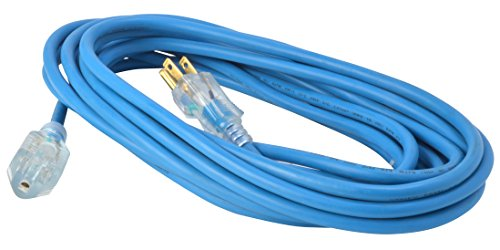 Woods 2434 16/3 Outdoor Cold-Flexible SJTW Extension Cord, Blue with Lighted End, 25-Foot