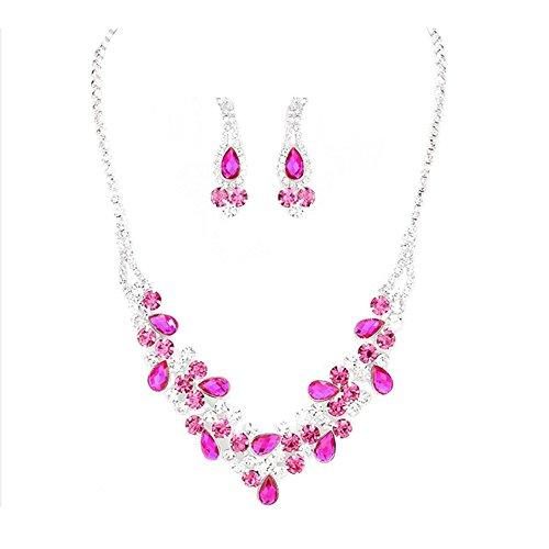 Schmuckanthony Set di gioielli da sposa per matrimonio, con collana, orecchini lunghi, in argento con cristalli trasparenti, rosa fucsia