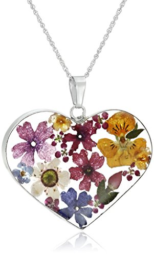 Amazon Collection Sterling Silver Multicolored Pressed-Flower Heart Pendant Necklace, 18'