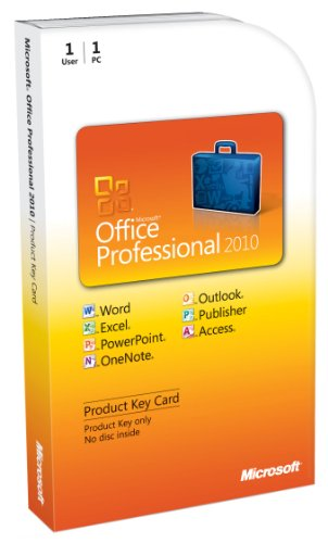 Microsoft Office 2010 Professional, 1 User [Product Key Card Only] (PC) [import anglais]