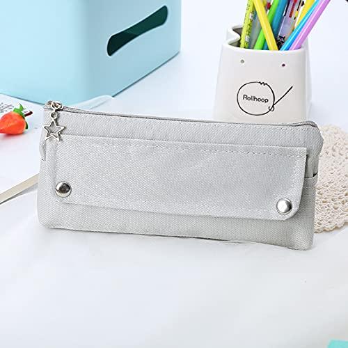 MRBJC Estuche para lápices, gran capacidad, bolsa de tela Oxford, organizador de escritorio con cremallera resistente para suministros escolares y de oficina, color gris 21,5 x 9,5 cm