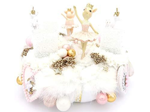 Adventskranz PETITE ROSE weiß-rosa-gold Ballerina Teelichter Shabby Weihnachtskranz Hirsch Landhaus Adventsdeko Weihnachten Dekoration Adventsgesteck