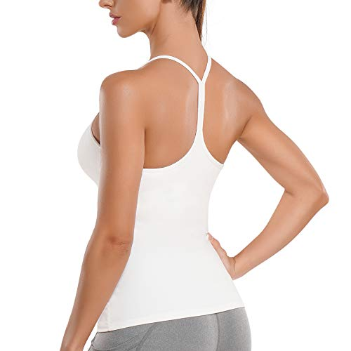 REYEOGO Workout Tank Top Y Racerback Yoga Shirt Built in Shelf Bra for Women Sport Spaghetti Strap Camisole Athletic Vest White