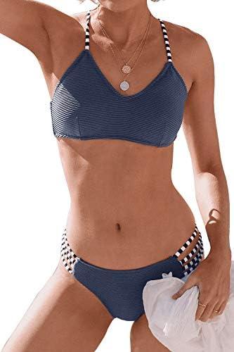 CUPSHE Women s Navy Blue Ribbed Strappy Self Tie Low Waist Bikini Set L product image