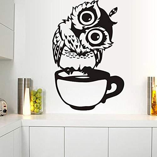 XCSJX Lindo búho Pegatina de Pared calcomanía de Vinilo en Taza café decoración de Pared Cocina Restaurante decoración Pegatina 47x70 cm