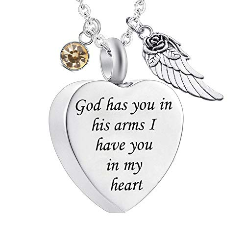 God has You in his arms with Angel Wing Charm Cremation Ashes Jewelry Keepsake Memorial Urn Necklace with Birthstone Crystal (November)