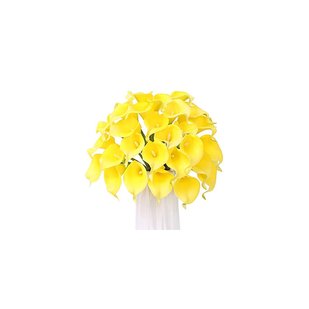 30 Pcs Artificial Calla Lily Flowers, FENGRUIL 14'' Latex Real Touch Bridal Flowers Bouquet for Home Office Party Wedding Festival Table Centerpiece Decoration
