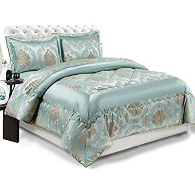 Jacquard 3 pcs Quilted Bedspread Comforter Set Throw Double and King Grey Cream