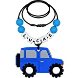 Personalized Name Sensory Chew Necklace for Boys, Silicone Car Pendant Chewy, Chewable Jewelry for Autism ADHD SPD Teething Biting with Special Needs Kids (Blue)