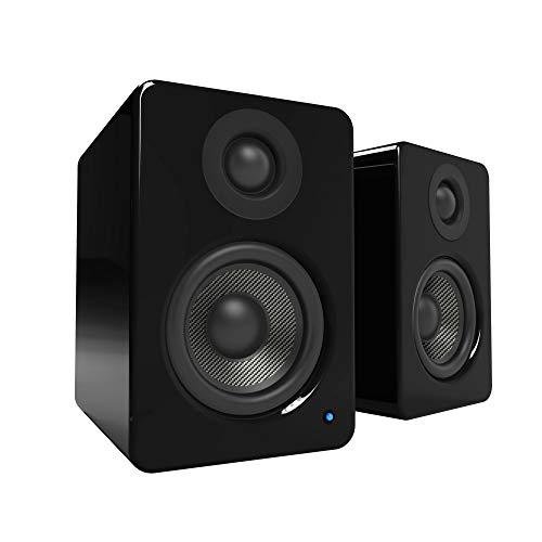 Kanto YU2 Powered Desktop Speakers - 3' Composite Driver, 3/4' Silk Dome Tweeter, Built-in USB DAC - Gloss Black (Renewed)