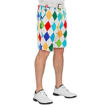 Royal & Awesome Men s Plus Size Patterned Golf Shorts King of Diamond 42W