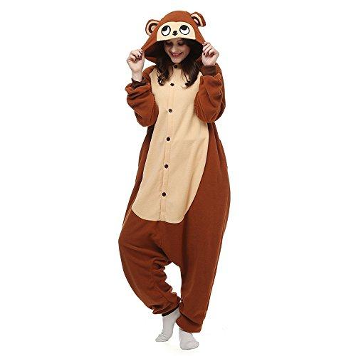 dressfan Unisex Pigiama Scimmia Pigiama Animale Anime Cosplay Costumi Natale Halloween Costumi per Adulti Donne Uomo Marrone S