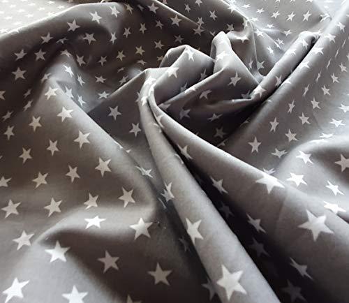 Tela de algodón gris con estrellas blancas sobre tela de algodón 100% artesanal, tela por metros