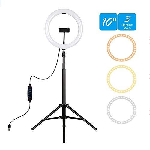LED-ringlicht 10,2 inch / 26 cm met statief en flexibele telefoonhouder en spiegel Bureau make-up ringlicht met dimbaar 3 lichtmodi en 10 helderheidsniveaus voor YouTube-videofotografie