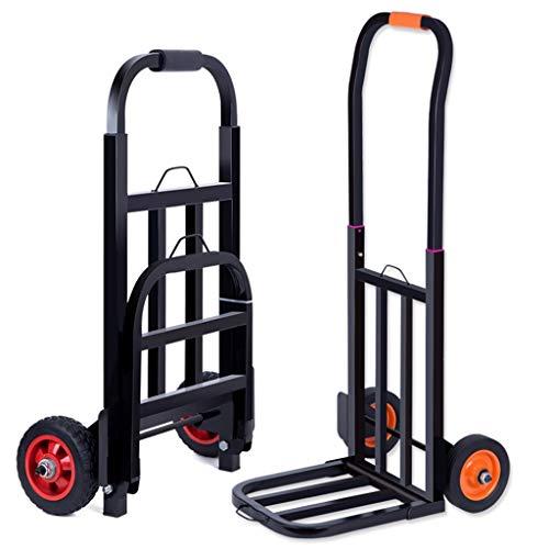 Carro de equipaje plegable para carrito de la compra, compra de alimentos, carrito de agua, remolque de carga de 90 ~ 125 kg (color: naranja, tamaño: 32 x 33 x 100 cm)
