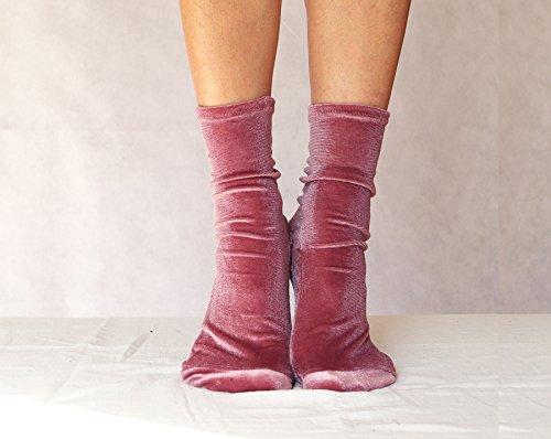 Velvet Socks. Mauve Velour Handmade Women's Socks. Homemade Socks