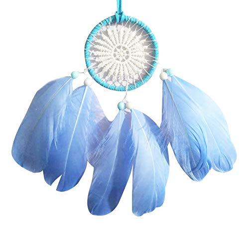 HUAJIA 2 Uds Atrapasueños Diseño único Cuentas De Plumas Atrapasueños Pared Coche Colgante Adorno Ventana Decoración Regalo para Mujeres Niñas Azul