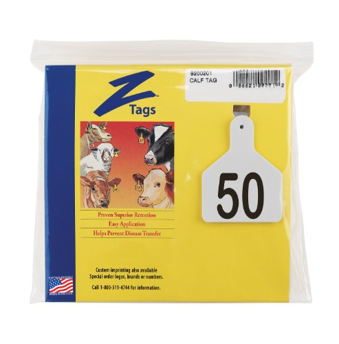 Z Tags 1-Piece Pre-Numbered Laser Print Tags for Calves, Numbers from 26 to 50, White