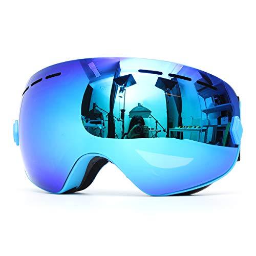 GEMITTO Unisex Professionele dubbele schijf snowboard bril anti-condens UV-bestendig voor heren en dames Blue Lens Blue Frame