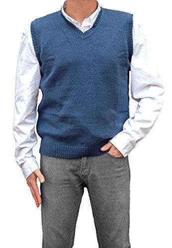 TINKUY PERU - Peruvian Alpaca Wool - Mens Knit V-Neck Pullover Sweater Classic Vest - Steel Blue (XX-Large)
