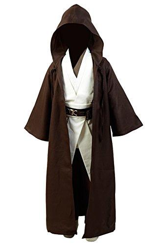 Disfraz de Jedi Kenobi para adulto, bata Jedi marrón para hombre, conjunto completo de túnica Jedi