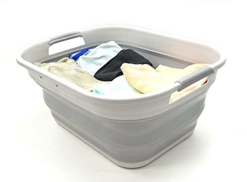 SAMMART Cesta de almacenamiento de plástico plegable-Contenedor plegable plegable (Gris)