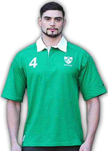 Celtic Clothing Company Irish Pride 4 Rugby Shirt, World Cup Rugby Shirt, Ireland Flag Sleeve, 4 Provinces, Green, Large