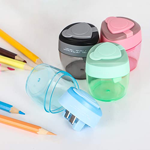 JARLINK 4 Pack Pencil Sharpener, Manual Pencil Sharpener with 2 Holes for No.2/Colored/Art Pencils, Portable Use in School Classroom Office Home