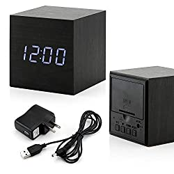 GEARONIC TM Wooden Alarm Clock, LED Square Cube Digital Alarm Thermometer Timer Calendar Brighter LED -Black