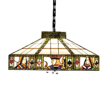 CraftThink Pendant Lighting LED Chandelier Light Antique Tiffany Art 18'W Geometric Shade Stained Glass with Poker Pattern 2 lights Hanging Light for Dining Living Cafe Room Restaurant - TYP A (Typ D)