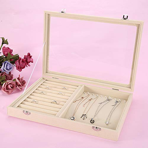 Caja de exhibición de la joyería, beige elegante del escaparate del organizador de la joyería de 2 particiones para el anillo para el collar