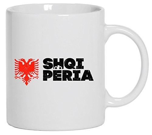 Länder Wappen Tirana Länder bedruckte Kaffeetasse Bürotasse mit Spruch Motiv Flagge Albanien 2, Größe: onesize,Weiß