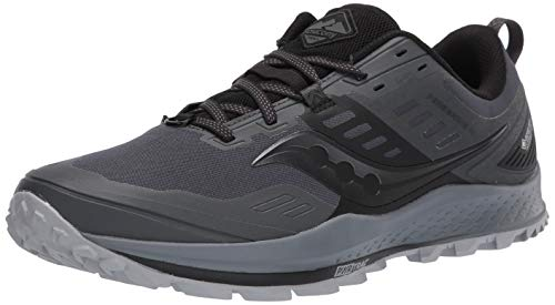 Saucony Men's Peregrine GTX Trail Running Shoe, Grey/Black, 10 M US