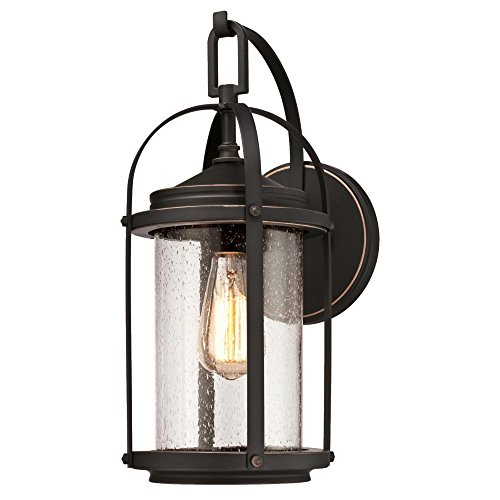 Westinghouse Lighting 6339300 Grandview One-Light Outdoor Wall Fixture, Oil Rubbed Bronze Finish with Highlights and Clear Seeded Glass