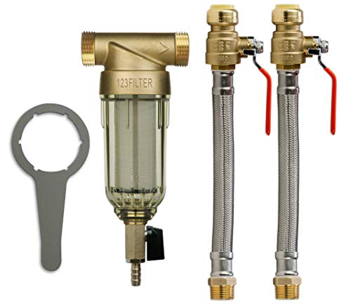 iSpring WSP50+AHPF12MNPT12X2 Reusable Whole House Spin Down Sediment Water Filter, 50 Micron, Gold