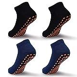 Kinder Jungen Socken Kinder Anti-Rutsch-Socken Trampolin Kinder Rutschen Gripper Socken für Jugendliche Gr. 2-5 Jahre, 05 Schwarz * 2 + Marineblau * 2