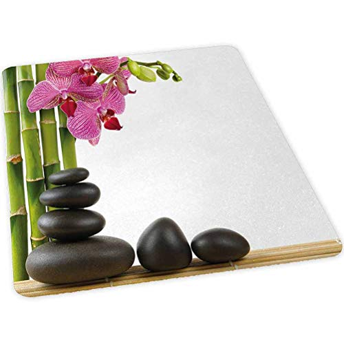 Office Chair Mat for Hard Floors, Beautiful Pink Orchid with Bamboos and Black Hot Stone Mas, 30' x 47' Chair Mat for Hardwood and Tile Floors, Protective Floor Mat for Home or Office, Pink Green Blac