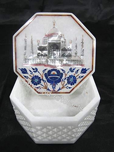 Gifts And Artefacts - Joyero de mármol con Filigrana y réplica de Taj Mahal (15,2 cm)