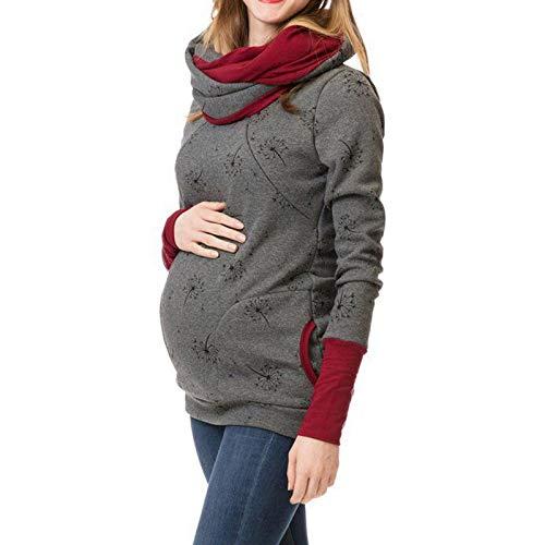 Women Maternity Pajama Set Hospital Nursing Sleepwear Sets Soft T Shirts+Long Pants Breastfeeding/Pregnancy Nightgowns Sets (Gray 1, L)