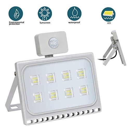 50W Foco Exterior LED con Sensor de Movimiento Floodlight 4500LM 6500K Impermeable IP65 Proyector Foco Iluminación de Seguridad Blanco Frío para Garaje [Clase de eficiencia energética A+]