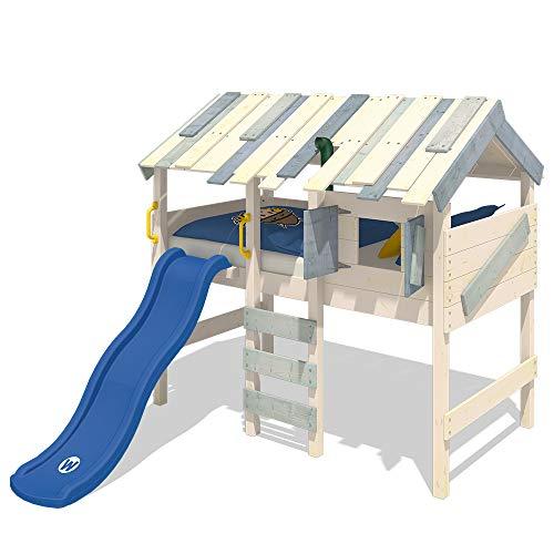 WICKEY Kinderbett Hochbett CrAzY Lagoon mit blauer Rutsche, Hausbett 90 x 200 cm, Etagenbett