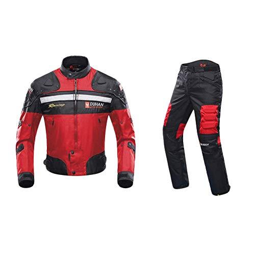 ANTLEP Motorradkombi Jacke Wasserdichtes Textil Hose 2 Stück Klage CE gepanzerte Kleidung für alle Wetter,Red,XXL