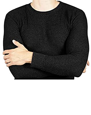 Joe Boxer Thermal Crew Tops - Base Layer Shirt - Long Sleeve Undershirt (Black, Medium)