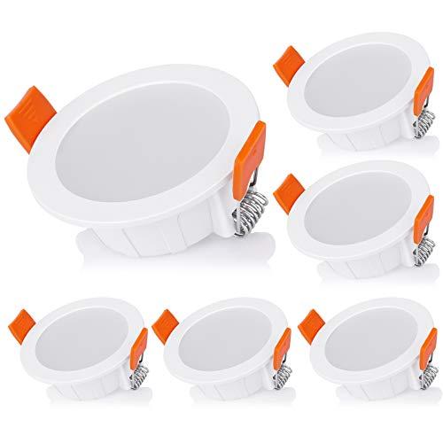 OOWOLF LED Einbaustrahler 6er Set IP44 wasserdicht 230V 4W 290lm 3000k warmweiß CRI>80 Deckenspot, LED Einbauleuchten flach 6x für Bad Wohnzimmer