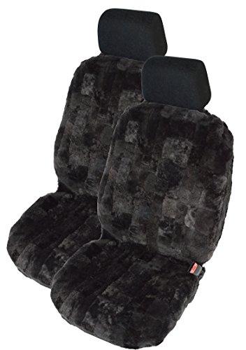 Leibersperger Autositzbezug - Autositzauflage - Autoschonbezug - Lammfell - 1 Paar - (Patchwork) Schiefer